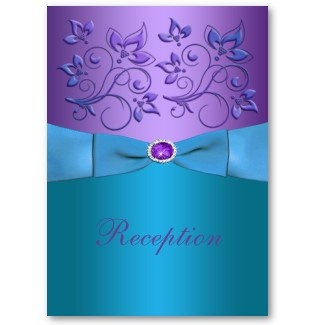 Image Detail For Purple And Turquoise Floral Wedding Enclosure Card By NiteOwlStudio