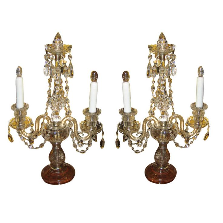 pair of crystal candelabra buffet lamps