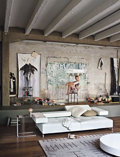 Long shelf/banquette, huge painting. Simply a great image. spencerinteriors.ca