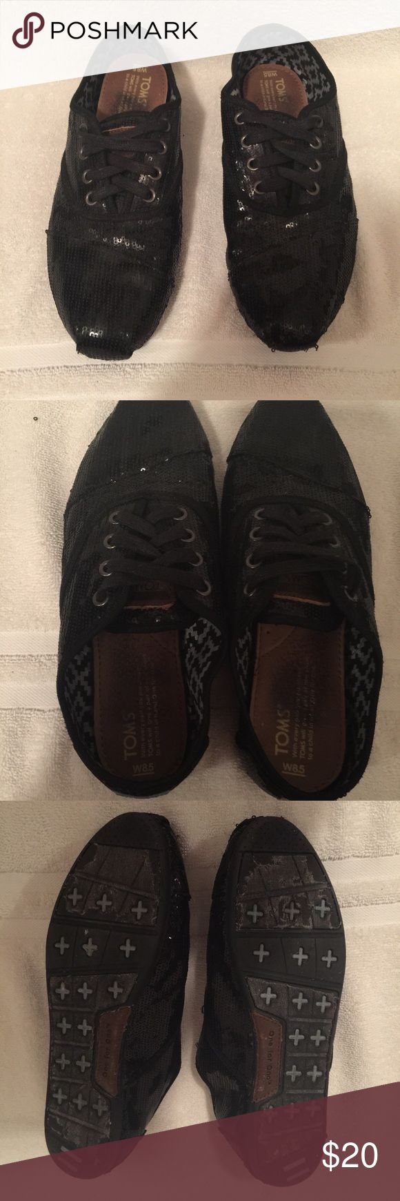 Sparkly Black Toms Sparky black toms with laces! Slightly worn, size 8.5 TOMS Shoes Flats & Loafers