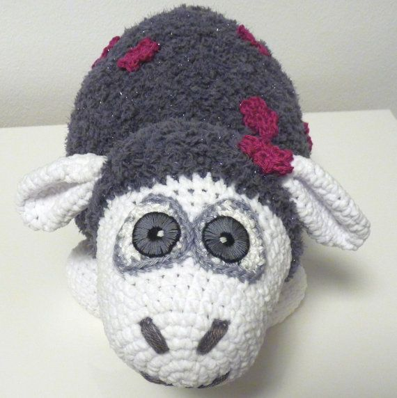 Crochet Sheep Pattern Grey Soft Animal With Violet Flowers Stuffed Animal Designed By SKatieDes