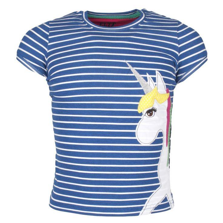 #ELT Tshirt #bibbi Junior is een fleurig tshirt voor de kleine paardenliefhebber. In blauw/wit gestreepte uitvoering en in het effen roze. Beide tshirts zijn aan de voorkant voorzien van een applicatie van een gekleurde eenhoorn. #streepjes www.divoza.com