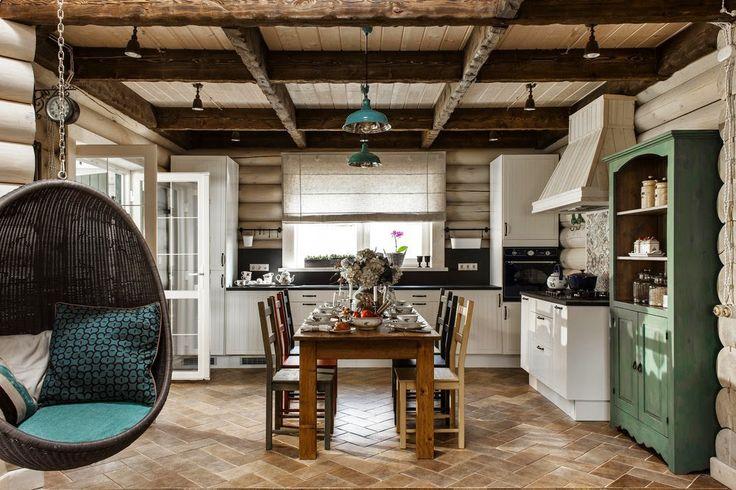 Elegant interiorul acestei case din bârne de lemn