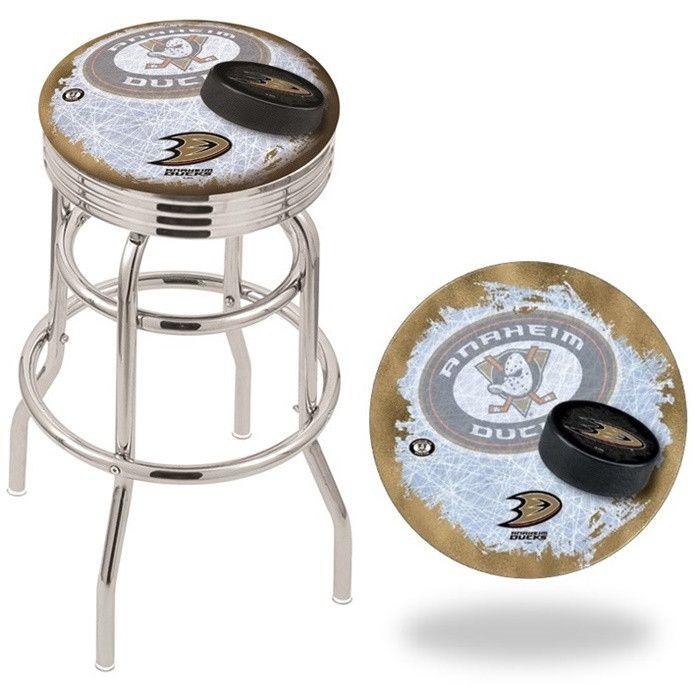 Anaheim Ducks NHL D2 Retro Chrome Ribbed Ring Bar Stool