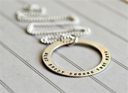 Washer Necklace Personalized Hand Stamped Jewelry Mothers Day Sterling Silver | Sevenblueberries | madeit.com.au