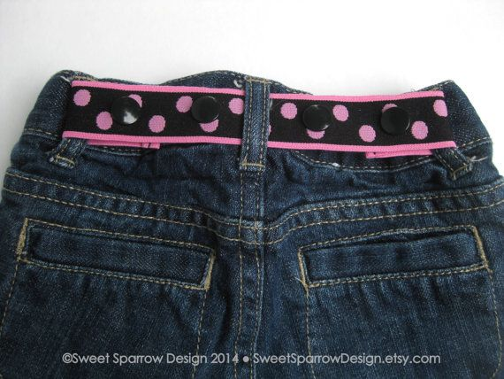 Adjustable Toddler ELASTIC SNAP BELT  - Black & Pink by SweetSparrowDesign, $6.00