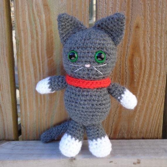 Cat Kitten Soft Toy Grey Or White Amigurumi Kitty Crochet Knitted