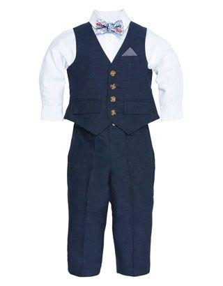 Liam Linen 4 Piece Navy Waistcoat Set