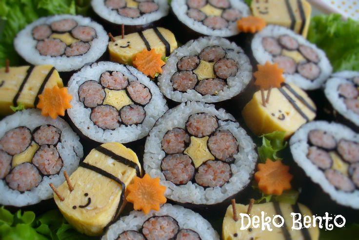 Flower sushi and egg bee party food - dekobento.co.nz