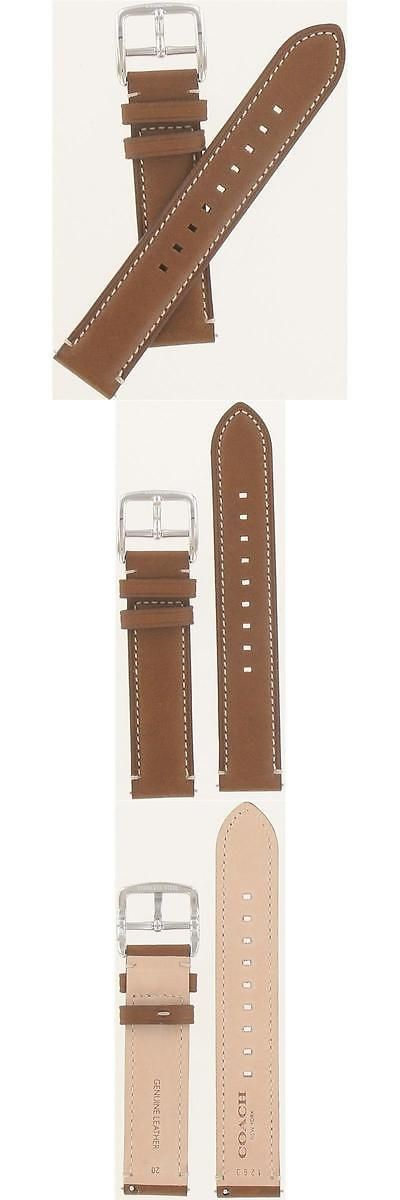 Wristwatch Bands 98624: Coach 20Mm Brown Genuine Leather Strap Mens Size Watch Band 54930-1263 BUY IT NOW ONLY: $45.0