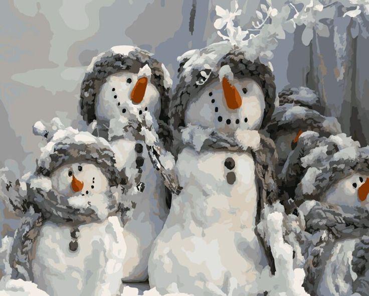 Pintura al óleo pintura por números diy lienzo decoración de la pared pintado a mano imagen impresa de dibujo para colorear por número de familia del muñeco de nieve E534 en Pintura y Caligrafía de Hogar y Jardín en AliExpress.com | Alibaba Group