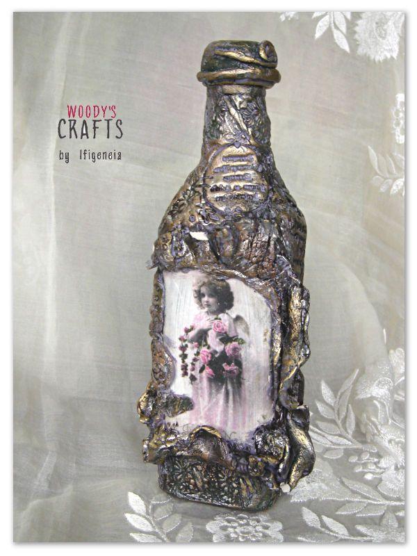 Διακοσμητικό χειροποίητο μπουκάλι | Επιτραπέζια Διακοσμητικά | Περισσότερα στη διεύθυνση: http://j.mp/boukalia-woodys-crafts-gallery