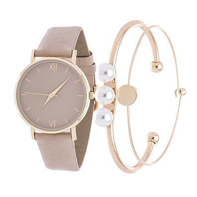Montre pour femme : Fortune NYC Arm Candy Ladie's Fashion Gold Case / Beige Leather Strap Watch with a Set of 2 Bracelets – Amanda Moldenhauer