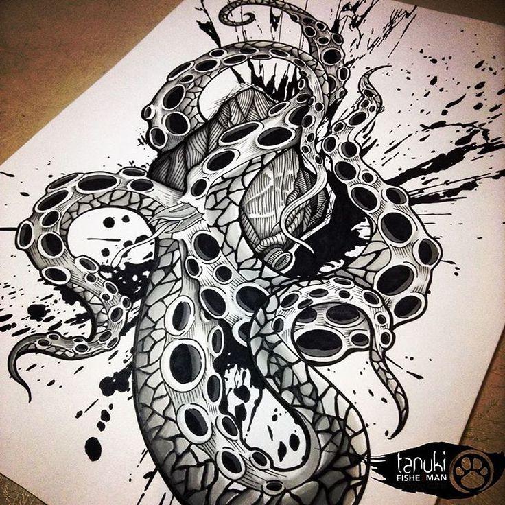 Dessin poulpe coeur graphic, tanuki tattoo