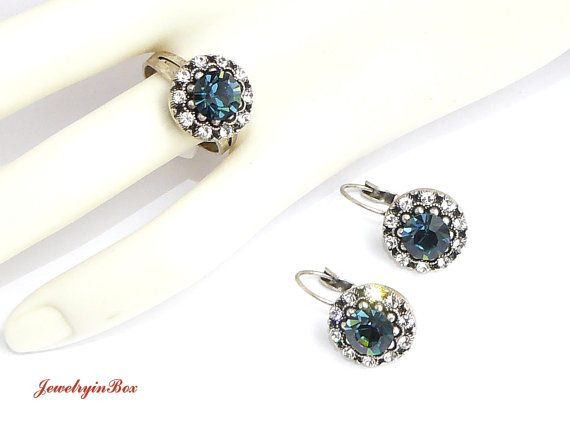 Ring Earrings with Dark Blue White Swarovski by JewelryinBox, $29.00