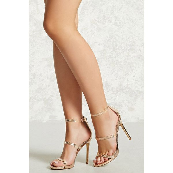 Forever21 Metallic Strappy Heels ($30) ❤ liked on Polyvore featuring shoes, rose gold, metallic high heel shoes, strappy high heel shoes, high heel platform shoes, metallic shoes and metallic platform shoes