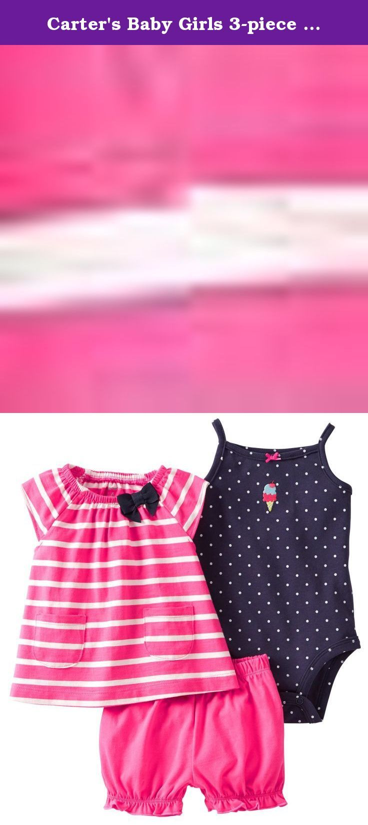 Carter's Baby Girls 3-piece Bodysuit & Diaper Cover Set (6 Months, Pink). A sleeveless top with coordinating bodysuit and diaper cover is a versatile set. Stripes on bodysuit are a fresh new look. Set includes 1 sleeveless top, 1 tank-style stripe bodysuit and 1 coordinating diaper cover Tank-style bodysuit features nickel-free snaps on reinforced panel to last longer through all those diaper changes.