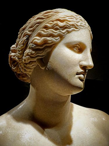 Bust of Aphrodite Roman copy of 360 BCE Greek original by Praxiteles found in the river Tiber in Rome