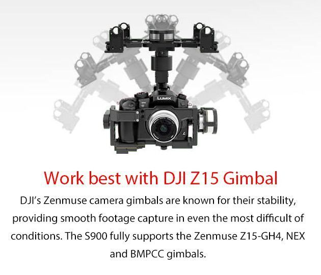 DJI S900 Professional Filming Drone - Designed for 4K Filming Era The best way to carry 4K cameras (GH4 / BGMCC) into the sky.  DJI has been making professional drones for years, this is the latest Spreadwings S900, a 900 class Hexacopter with very powe