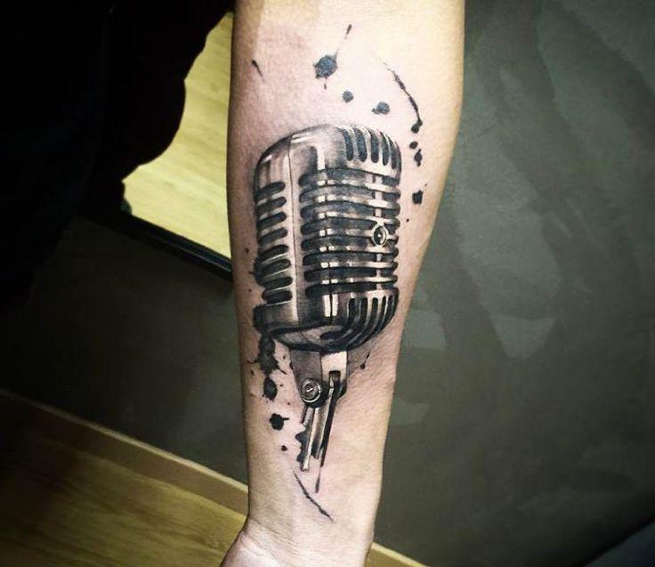 Microphone tattoo by Hugo Feist