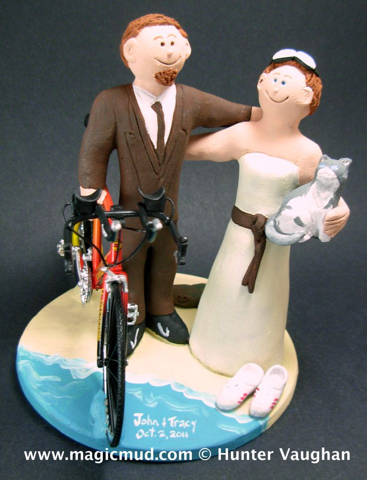 Marathon Cyclist's Wedding Cake Topper by http://www.magicmud.com   1 800 231 9814  magicmud@magicmud.com  http://blog.magicmud.com  https://twitter.com/caketoppers         https://www.facebook.com/PersonalizedWeddingCakeToppers  #bicycle#bike#cyclist#mountain_bike#wedding #cake #toppers  #custom #personalized #Groom #bride #anniversary #birthday#weddingcaketoppers#cake toppers#figurine#gift#wedding cake toppers
