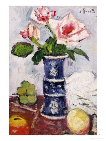 Pink Roses in a Chinese Blue and White Gu-Shaped Vase Posters by George Leslie Hunter at AllPosters.com