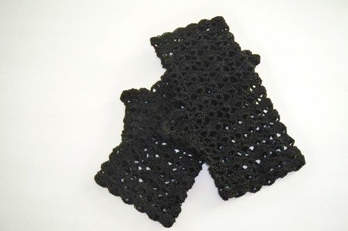 Black Lace Fingerless Gloves Hand Crocheted in Cotton Thread | GieseDeseiGns - Crochet on ArtFire