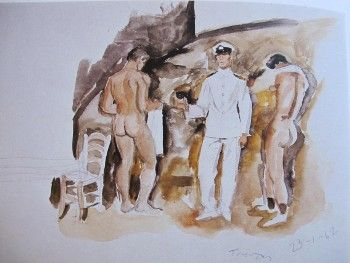 Study on beach, two nudes, one officer, 1962 by Yannis Tsarouchis.