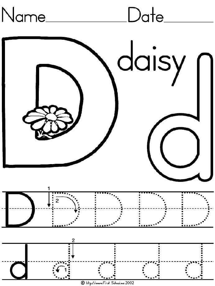 Letter D Daisy lesson plan printable activities: poster, coloring, word search for preschool, K and early grades.