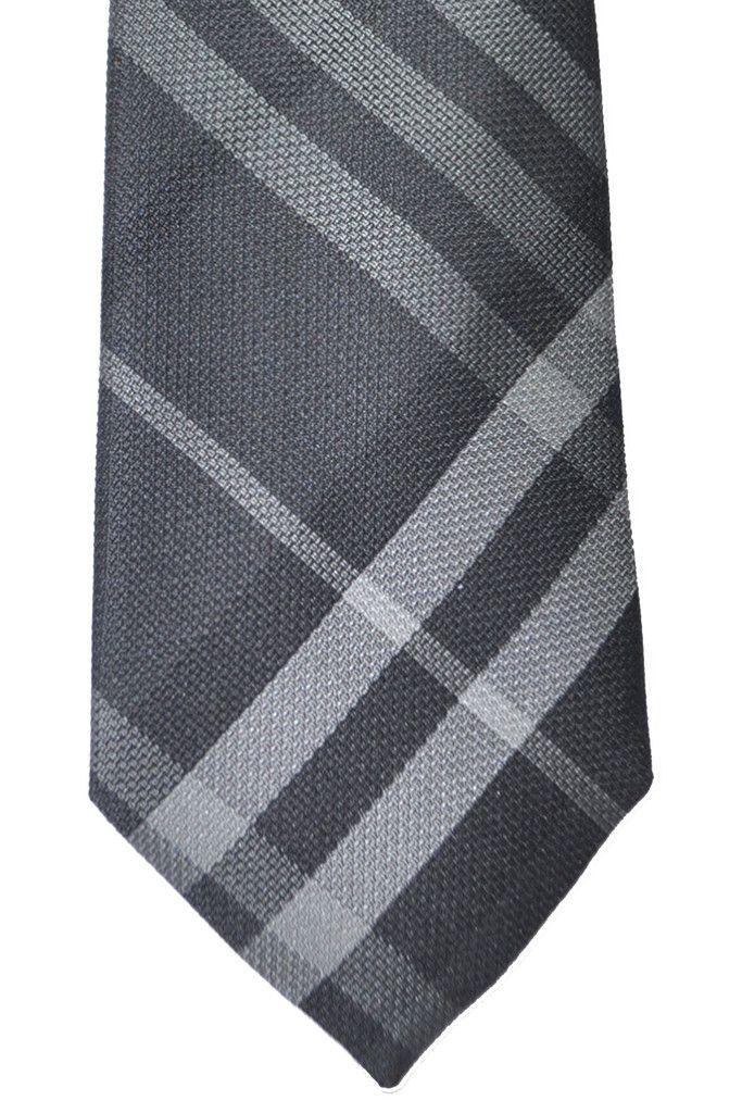 Burberry Tie Nova Check Plaid Charcoal Gray Beat