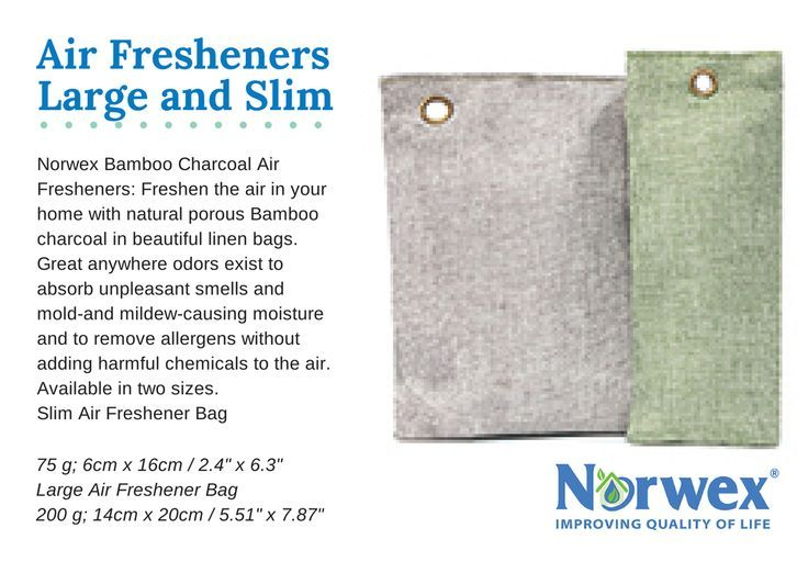 Norwex Bamboo Charcoal Air Fresheners: Freshen the air in your home with natural porous Bamboo charcoal in beautiful linen bags. Great anywhere odors exist to absorb unpleasant smells and mold-and mildew-causing moisture and to remove allergens without ad