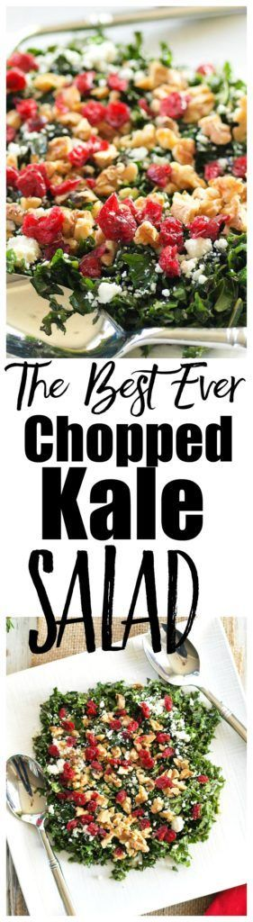 This healthy Chopped Kale Salad recipe is delicious and makes a beautiful addition to your holiday table!