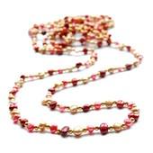 Helminauha kultaisista ja punaisista helmistä #helminauha #ihana
