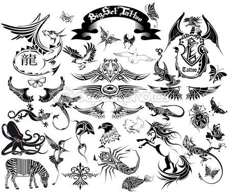 hagedis tatoeage set — Stockvector © osipovev #5361074