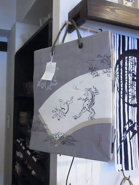 鳥獣戯画 ショッピングバッググレー