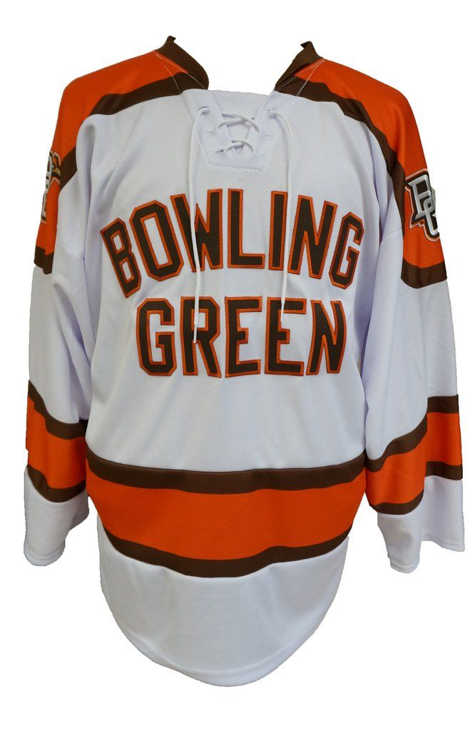 e67bbdc6a Brown and orange applique letters spell out Bowling Green across the chest  of this hockey jersey. The peekaboo falcon logo is featured on the upper  arms of ...