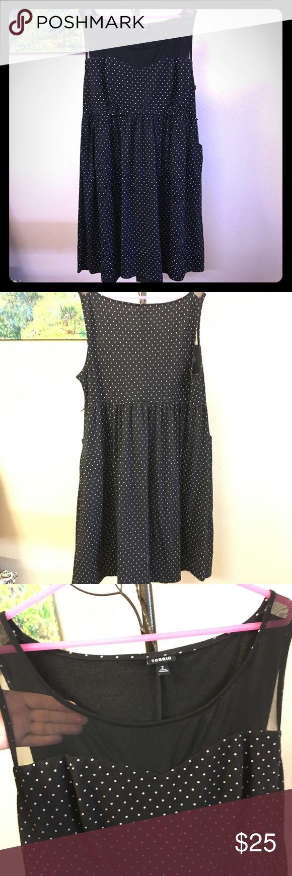 Black and white polka dot illusion dress