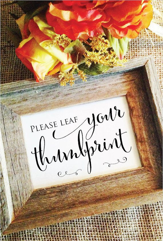 Please LEAF your thumbprint- Wedding thumbprint tree guest book Thumbprint Guestbook sign (Stylish) (Frame NOT included)