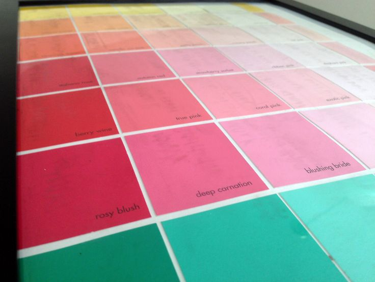 How to make a dry erase calendar by framing paint chips.