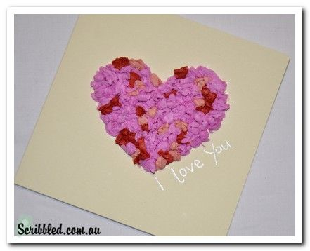 Valentines Day Card Made Of Crumpled Tissue Paper Balls