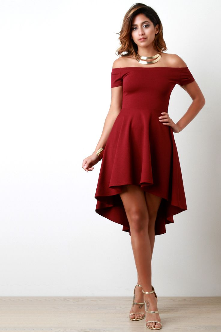 Off The Shoulder High-Low Ruffle Skater Dress