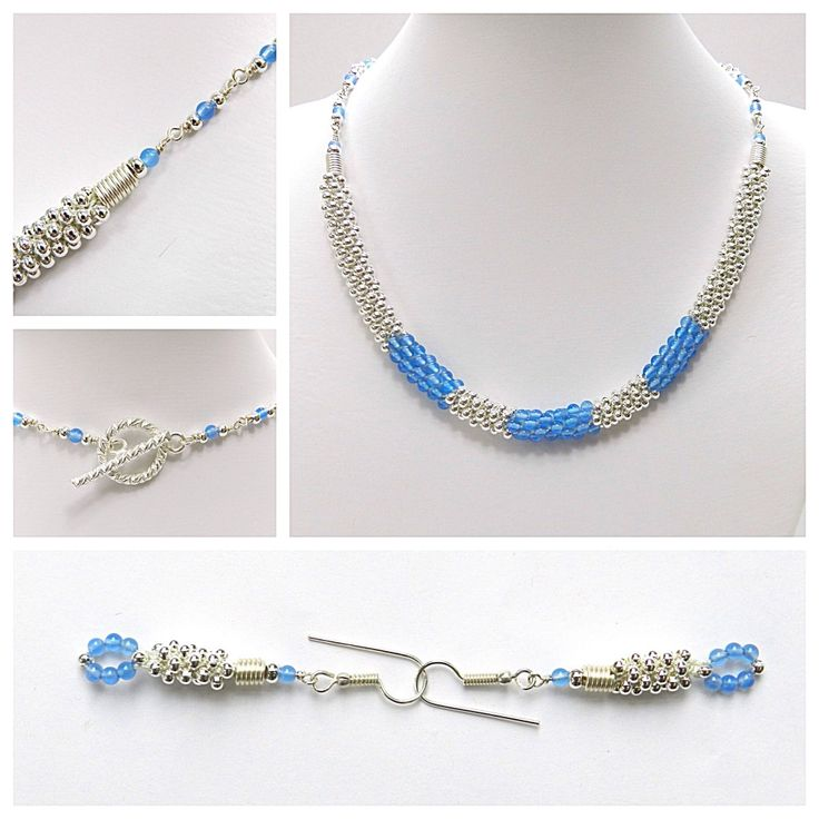 Kumihimo with metal seed beads and blue agate tutorial