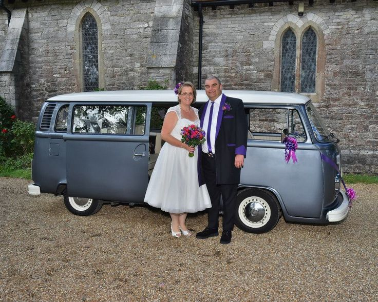 Lola our VW Wedding Campervan at St Mary's Church in Sholing Southampton