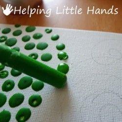 Melted Crayon Pointillism Art: Helping Little Hands