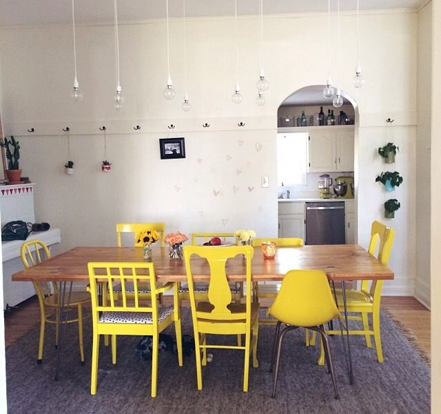 Yellow Mismatched Chairs