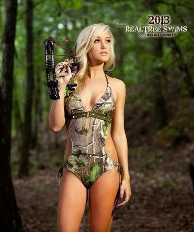 Cute! Camo Swimsuit, woman's real tree swim suit, camo bikini @Megan Gillan here now you can hunt and swim at the same time! You now Brett would LOVE it!