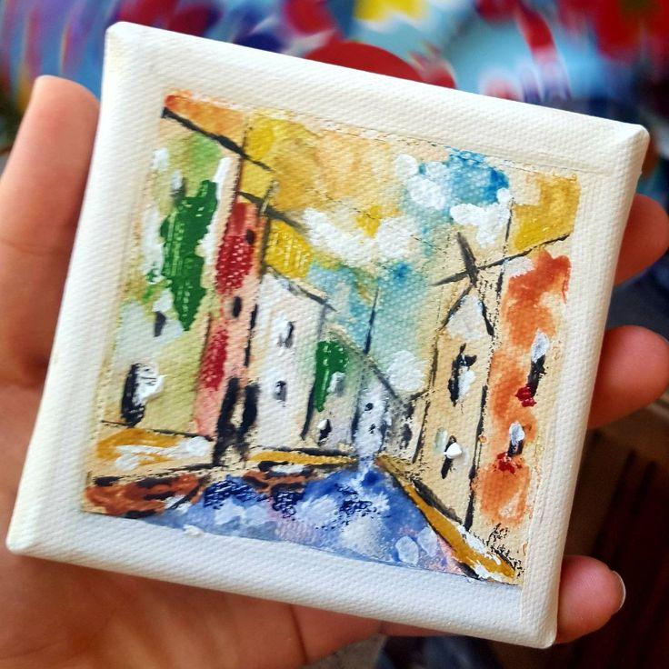 Quadretto con paesaggio di Burano..ideale per la casa e per l'ufficio. Un quadro originale e contemporaneo ricco di colori! Che aspetti?vieni a vederlo