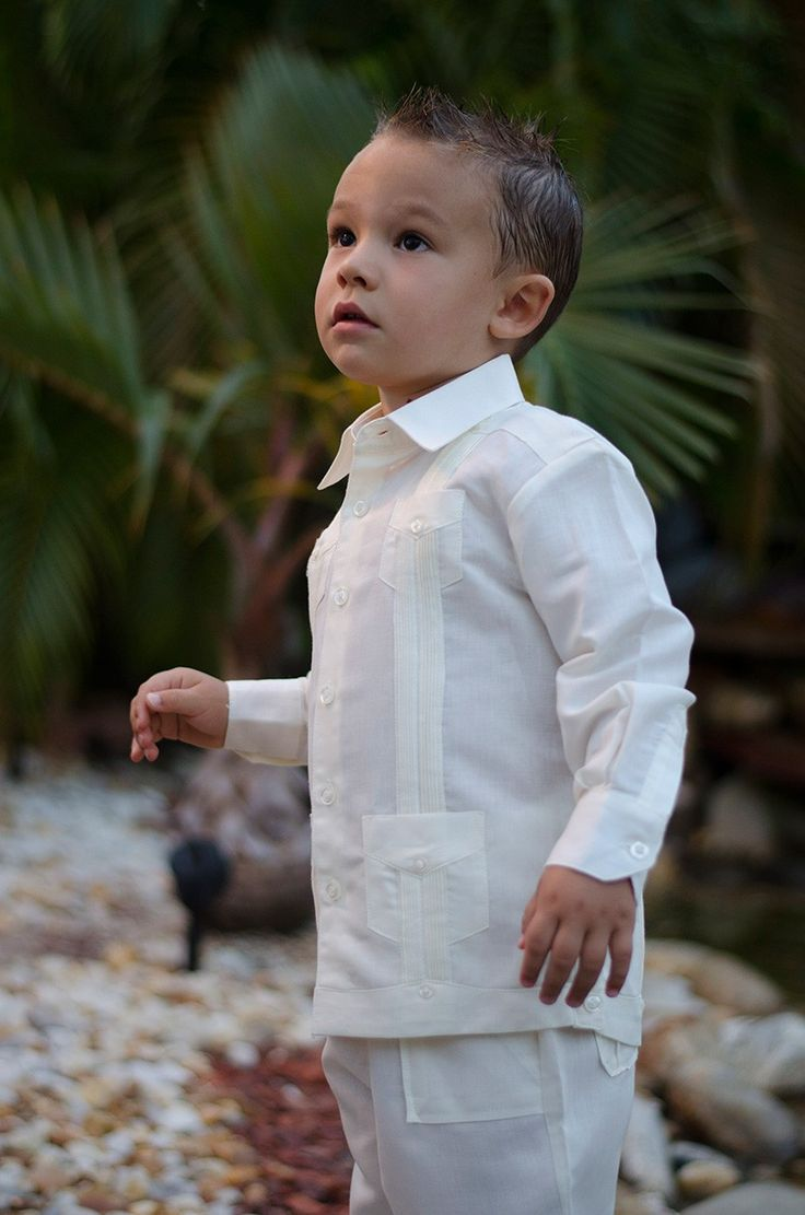Guayabera Set For Boys Long Sleeve Shirt Pants Ivory