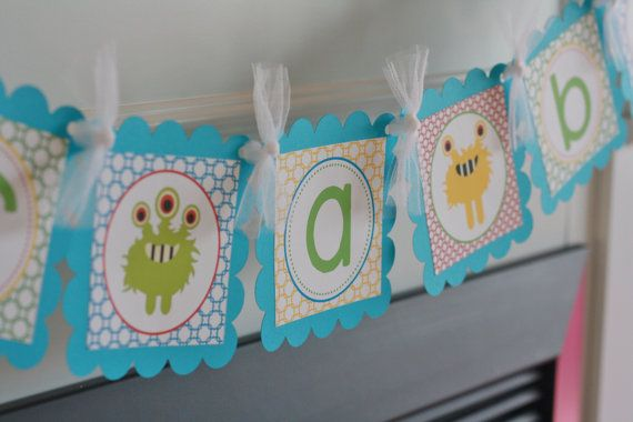 "Little Monster Baby Shower Baby Bash ""It's a Boy"" Baby Bash Banner - Ask About Our Party Pack Special. $25.00, via Etsy."