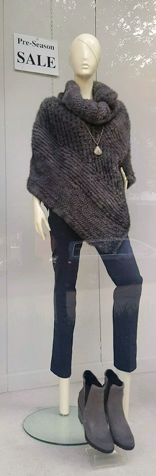 New knitted mink ponchos — pre-season fur sale; new wedge ankle boots by Sorel